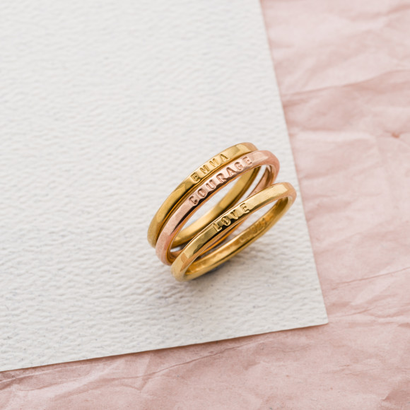 Personalised Sterling Silver Stacker Ring in yellow gold plate and rose gold plate