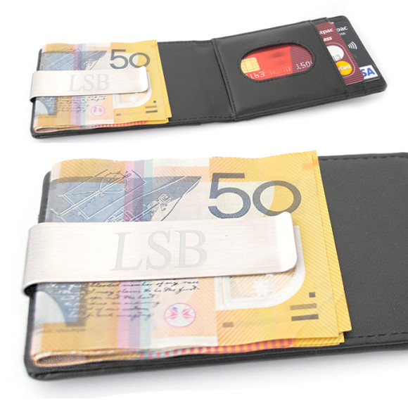 Wallet inside showing engraved money clip