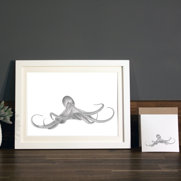 Octopus print A4 white frame