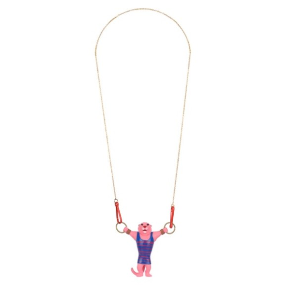 Pink tiger necklace