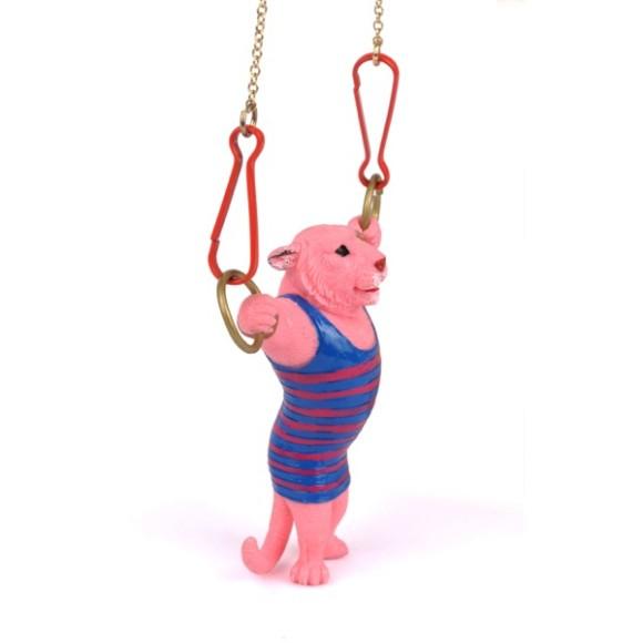 Pink tiger necklace