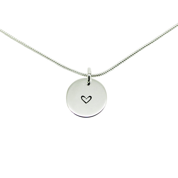 Initial Circle necklace - heart symbol