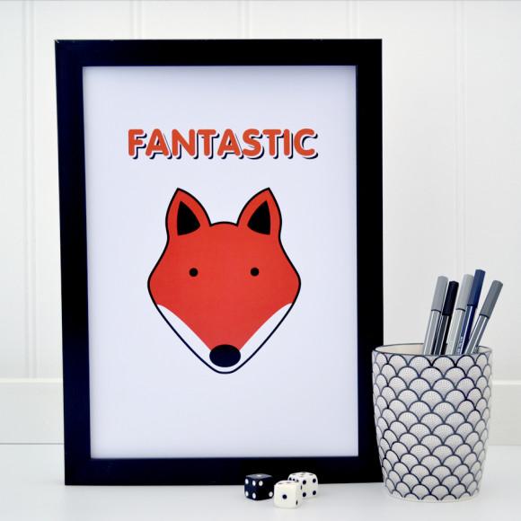 Fantastic Fox on white print