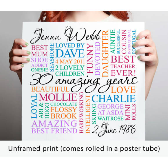 unframed print - white with coloured text