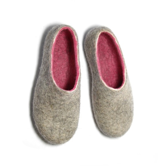 Women's Wool Slippers In Pink Twist