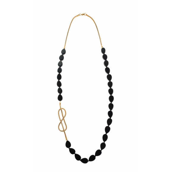 Hissia ebony and gold Dakar necklace