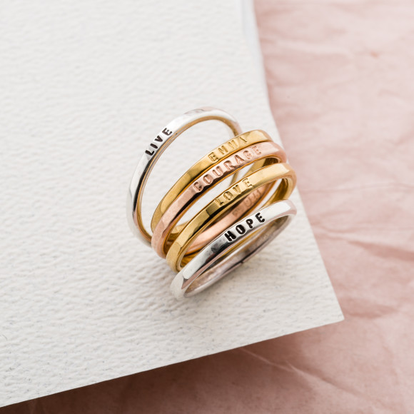 Personalised Sterling Silver Stacker Ring: choose from silver, and gold plates options