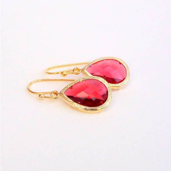 Faceted Glass Teardrop Earrings Ruby