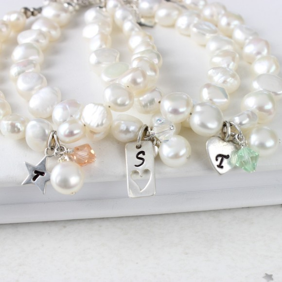 personalised pearl bracelet and each crystal (star charm), crystal ab (love charm) and mint green (Heart charm)