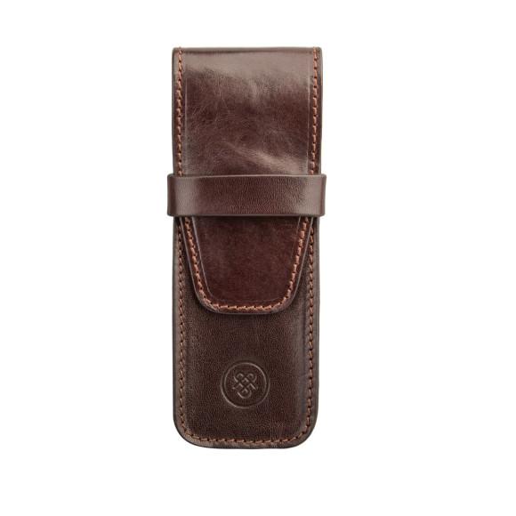 The Pienza pen case in dark chocolate brown.