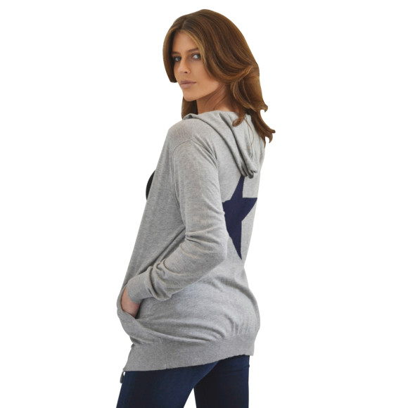 Cotton Grey Hoodie with Blue Star