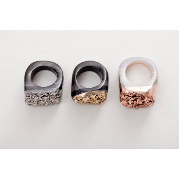 Silver, Gold and Rose Gold Hand Craved Agate Rings