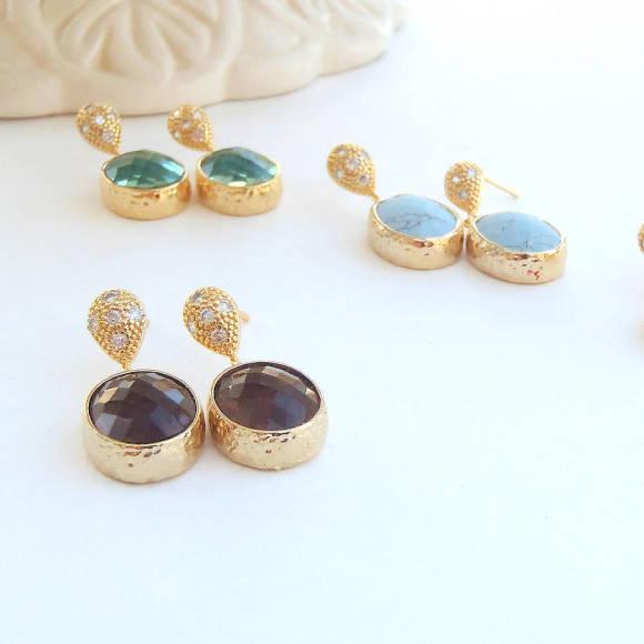 Oval Faceted Glass Gold Earrings Mocha