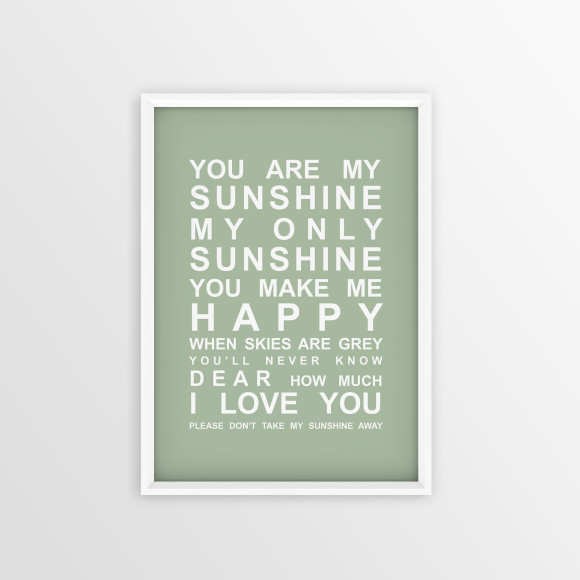 You are My Sunshine Bus Roll Print with optional white timber frame, in Pistachio