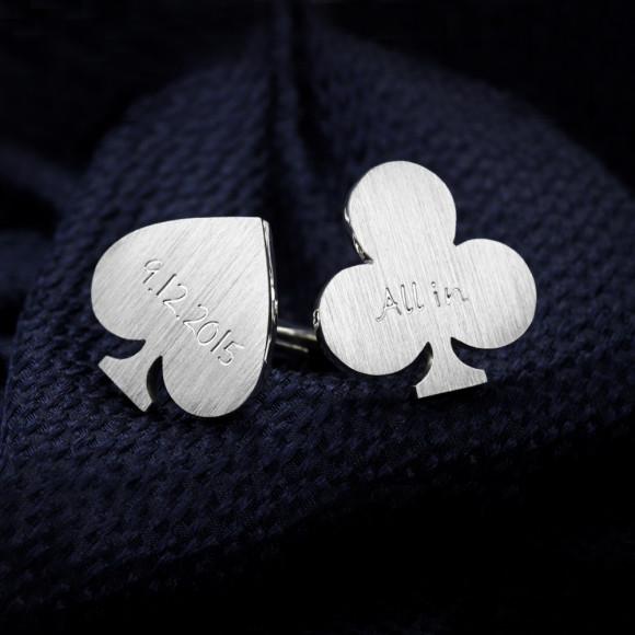 Poker cufflinks sterling silver