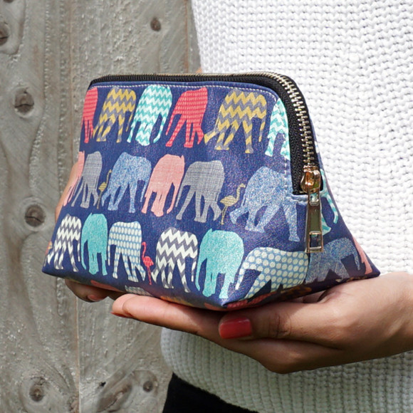 Elephants & Flamingos Vegan Leather Make Up Cosmetic Bag