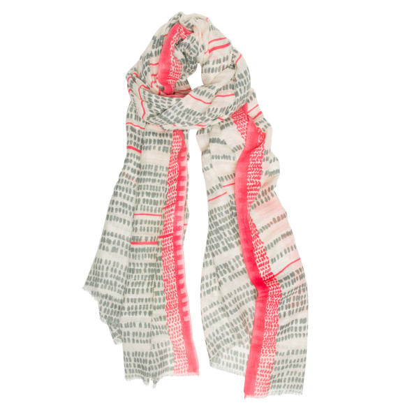 Coastline scarf in coral/grey