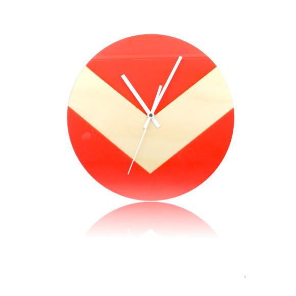 Reverse V clock in neon red