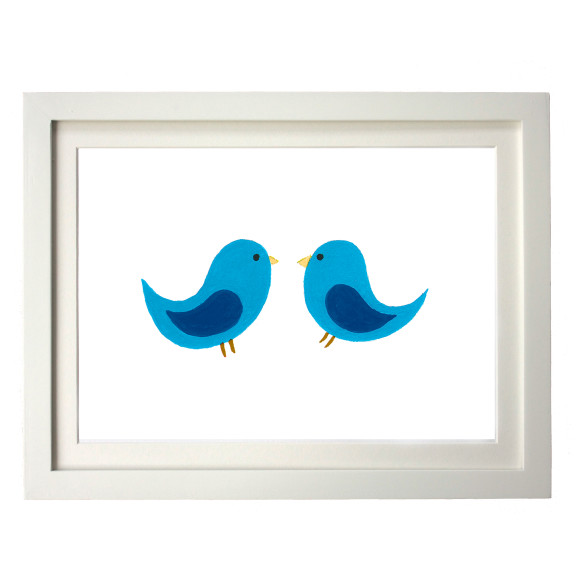 Twin blue birds white frame