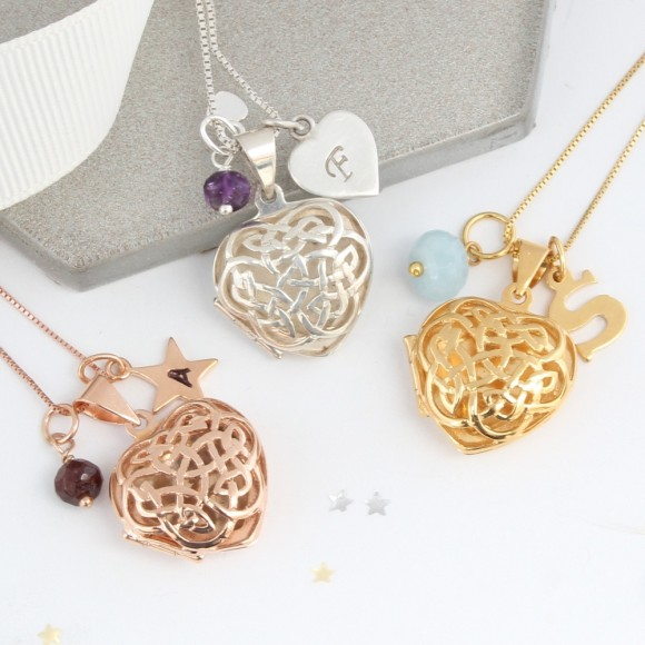 sterling silver rose gold or gold filigree celtic heart locket with January, February and March birthstones