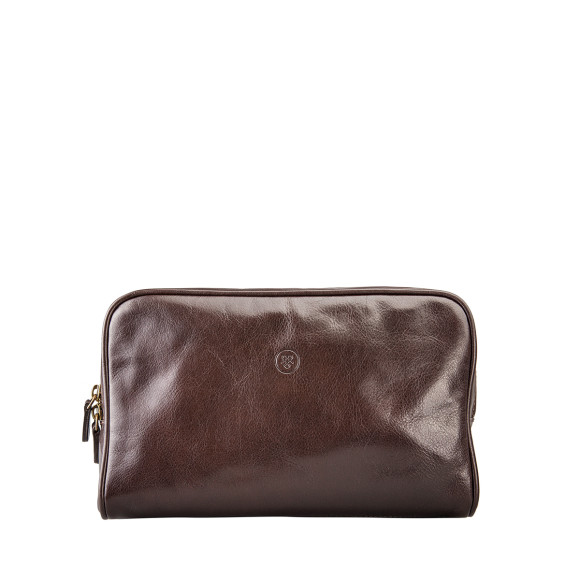 Chocolate brown leather wash bag