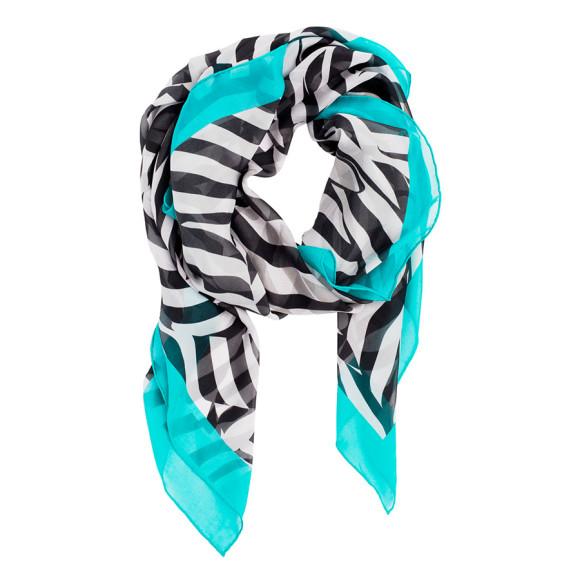Zebra Silk Scarf - Teal
