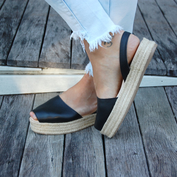 Details about NEW Pablo Leather Espadrille in Black Women's by RIA Menorca
