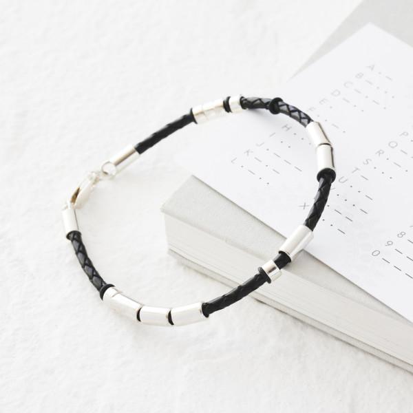 13cfadfa89320 Personalised men's leather morse code bracelet