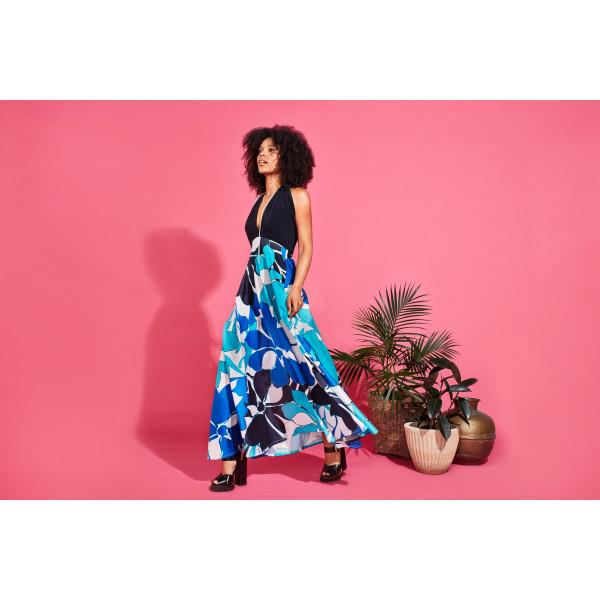 bb5db7dc2b1 Varela convertible stretch top maxi dress in aqua floral print | hardtofind.