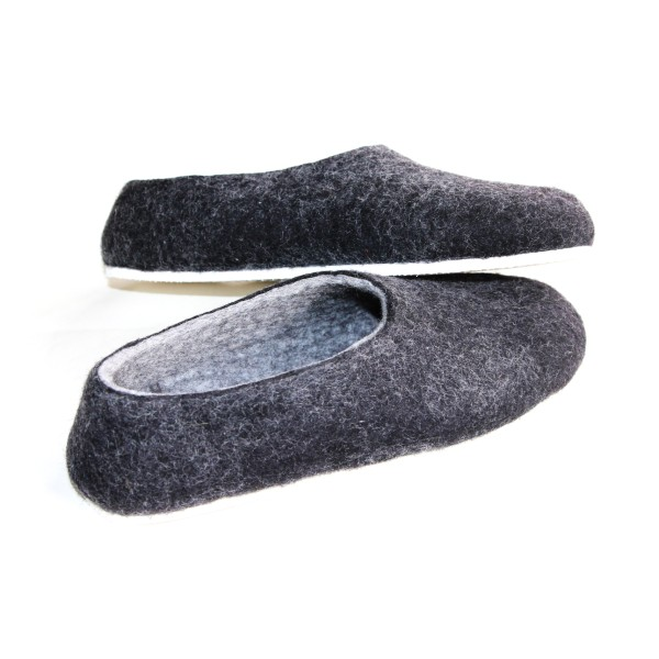 262ae251db61 Women s felt slippers in charcoal black (various sole colours ...