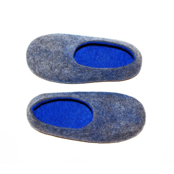 1482fb3a1e9 Women s felt slippers in blue wave (various sole colours)