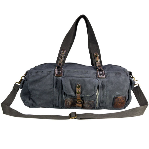 dd2938dc77 Theo vintage wash canvas and leather duffle bag in blue