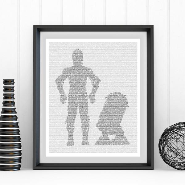 Star Wars C3PO & R2D2 text art print