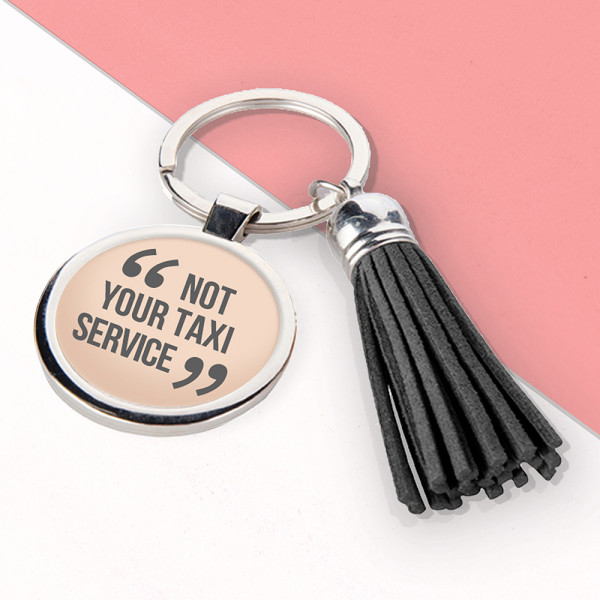 MUMS TAXI LEATHER KEYRING IN PINK