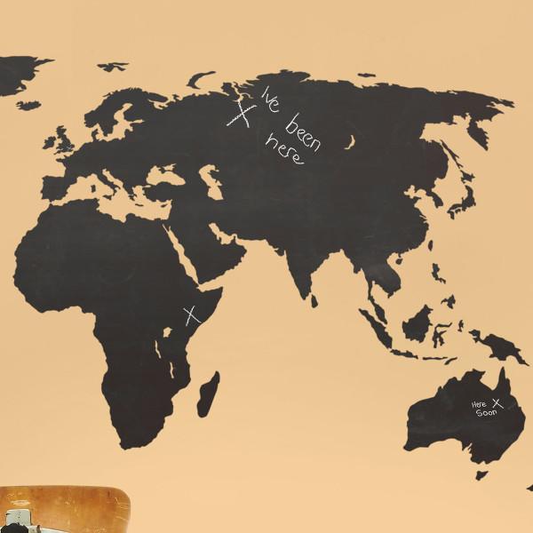 chalkboard world map wall stickers   hardtofind.