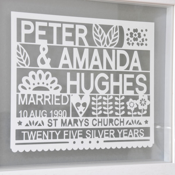 Personalised 25th Silver Wedding Anniversary Gift Hardtofind
