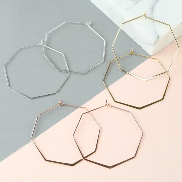 cefdce14b Delicate Octagonal Hoop Earrings | hardtofind.