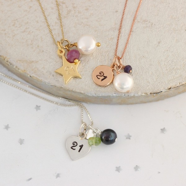 e7d54db85 21st birthday necklace with ruby (July) peridot (August) and sapphire  (September