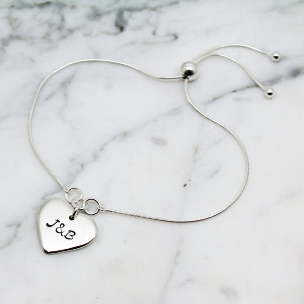 379f7da077 Initials Initials. Dates Dates. Words of love. Personalised Love Heart  Sterling Silver Slider Bracelet
