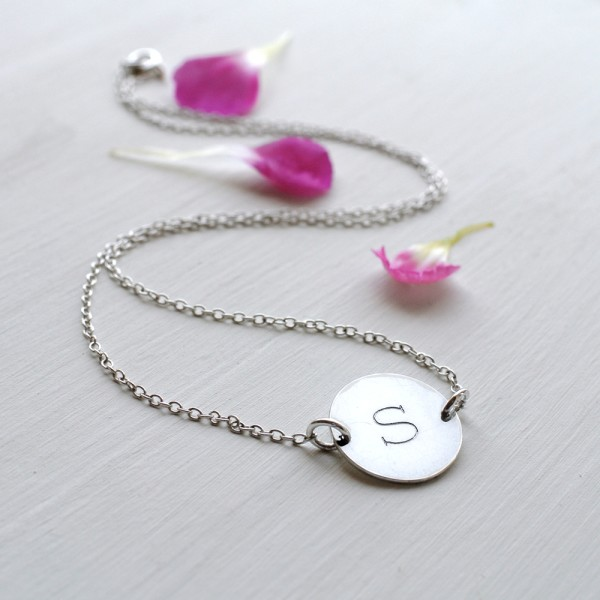 d9d5ff67c8419 Personalised Sterling Silver Initial Disc Necklace