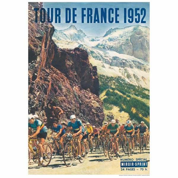 Large 1958 Tour de France Magazine Cover Art Vintage Cycling Velo Poster Print