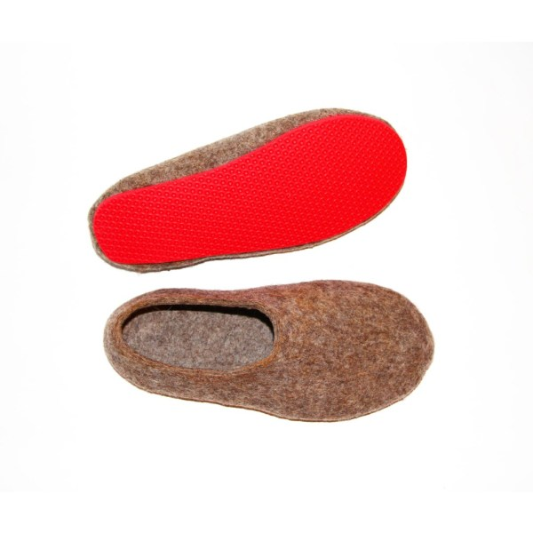 9a46fc8eb1c21 Women's felt slippers in eco brown (various sole colours)
