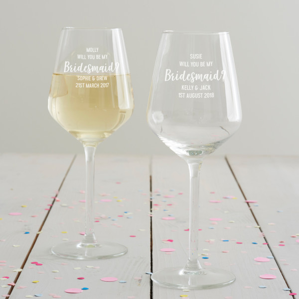 c67b9e7e5a7 Personalised 'Will You Be My Bridesmaid?' Wine Glass | hardtofind.