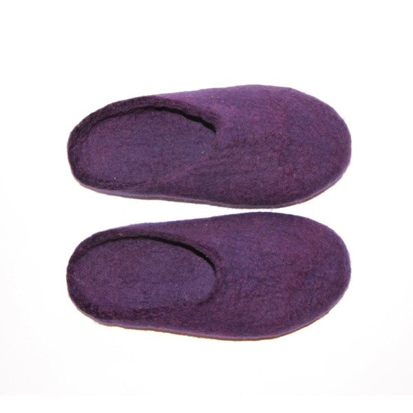 bfd5f5fe7016b Women's wool felted slippers in acai purple (various sole colours)