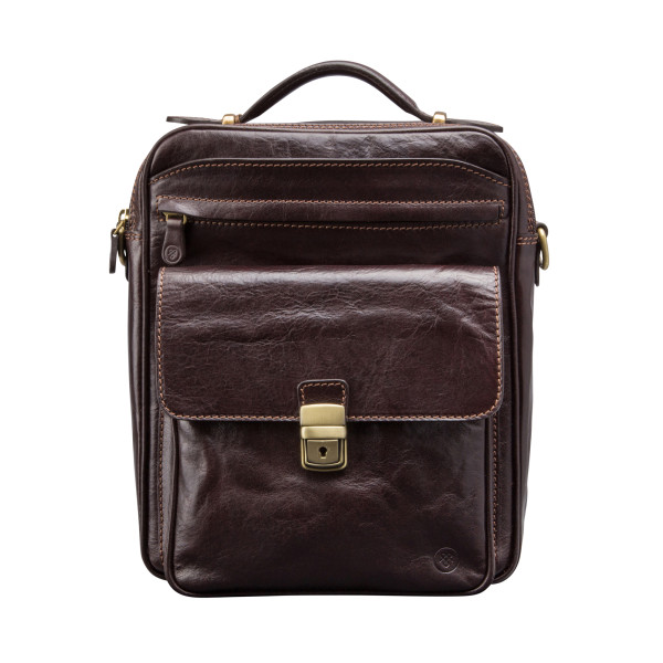 b2347706a82c Large mens leather bag in chocolate brown