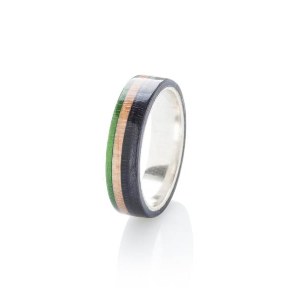 Recycled Skateboards Wood Silver Green Ring