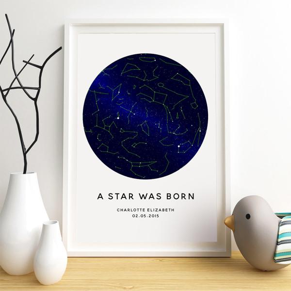 Personalised a star is born star chart kids' print