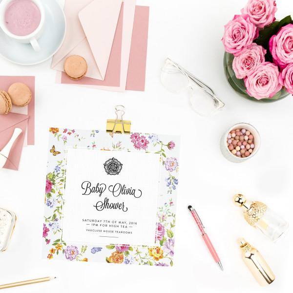 Personalised High Tea Baby Shower Invitations Hardtofind