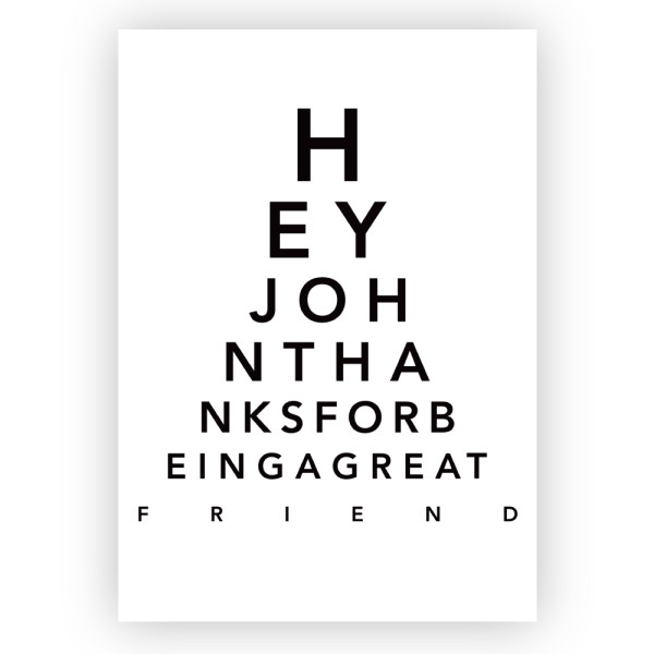 Personalised Eye Chart Print Hardtofind