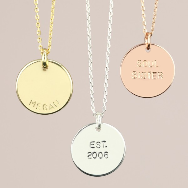 f413bbbbd186f0 Personalised Hand-Stamped Disc Pendant Necklace | hardtofind.